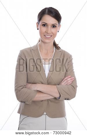 Portrait happy isolated young business woman in costume.