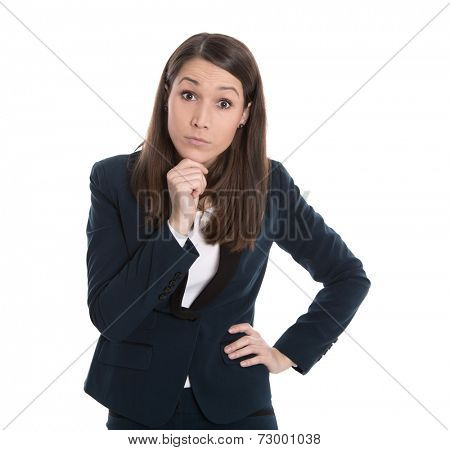 Portrait of a starring business woman isolated on white.
