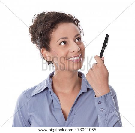 Idea: woman thinking with pen in hand isolated on white background