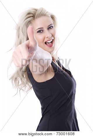 Isolated beautiful blond young woman with thumb up