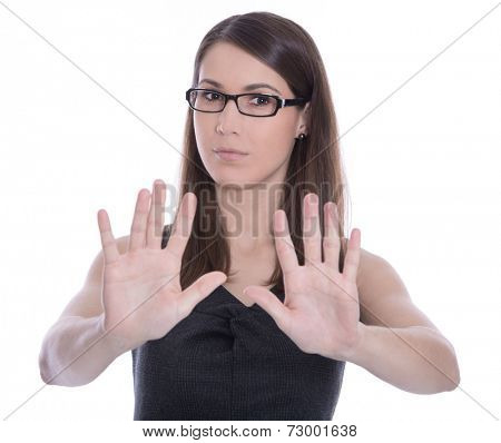 Isolated business woman says stop - concept for bullying.