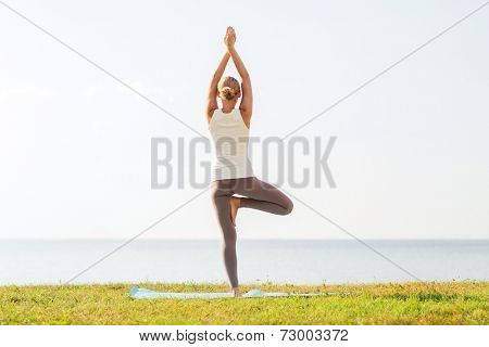 fitness, sport, people and lifestyle concept - woman making yoga exercises on mat outdoors from back