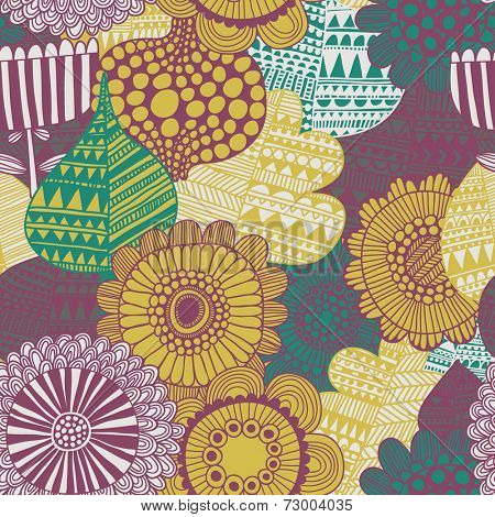 Stylish bright seamless pattern made of gorgeous flowers. Fantastic vector background. Seamless pattern can be used for wallpapers, pattern fills, web page backgrounds, surface textures.