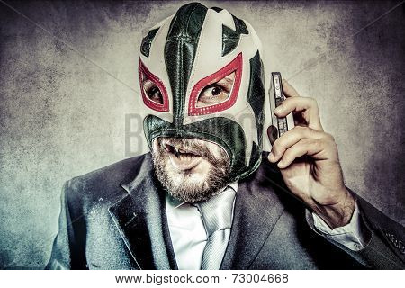Trouble, aggressive executive suit and tie, Mexican wrestler mask