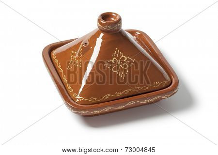 Moroccan square tagine on white background