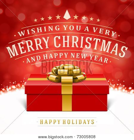Gift box and and ribbon vector background. Merry christmas message.