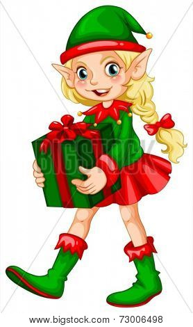 Illustration of an elf with a present
