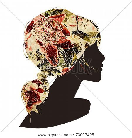 art black silhouette profile of beautiful girl with red floral ponytail hair isolated on white background