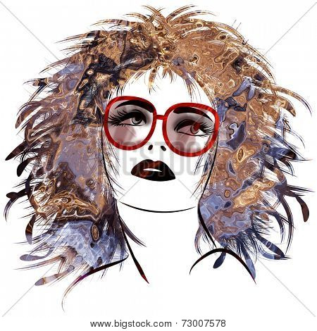 art sketched beautiful girl face with eyeglasses and curly hairs  in colorful graphic isolated on white background