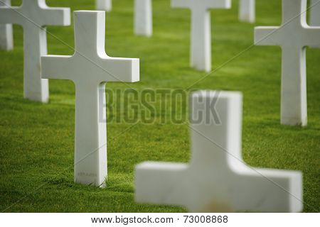 White crosses in Normandy, France.