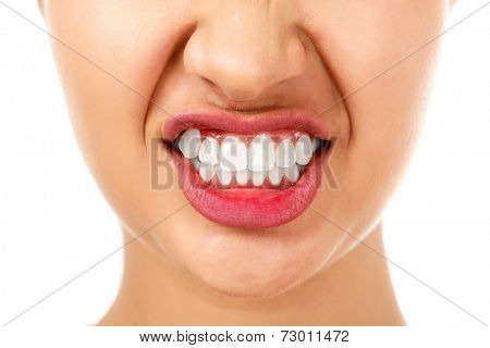 Angry woman, white background, isolated
