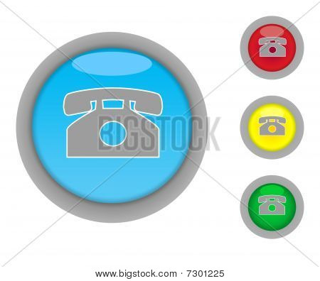 Retro Telephone Button Icons