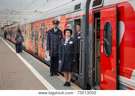 MOSCOW, RUSSIA, SEPTEMBER, 23: Train Conductors. VGIK 95 (Gerasimov Institute of Cinematography) Tour. September, 23, 2014 at Yaroslavsky railway station in Moscow, Russia