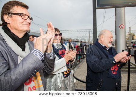 MOSCOW, RUSSIA, SEPTEMBER, 23: B. Tokarev, L.Luzhina, V.Malishev. Train VGIK 95 (Gerasimov Institute of Cinematography) Tour. September, 23, 2014 at Yaroslavsky railway station in Moscow, Russia
