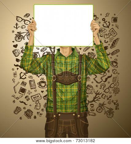 Idea concept. Man with write board in lederhosen on oktoberfest