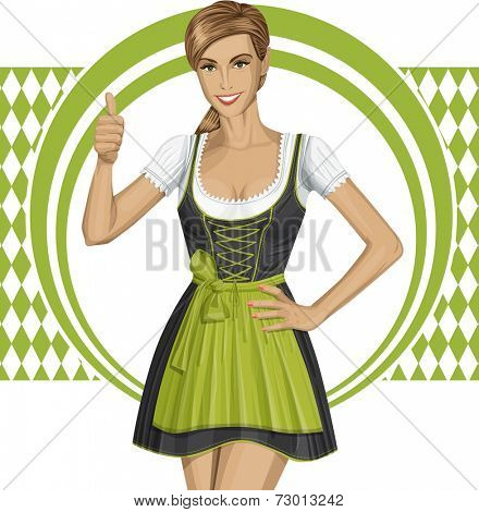 cute woman in drindl on oktoberfest shows well done