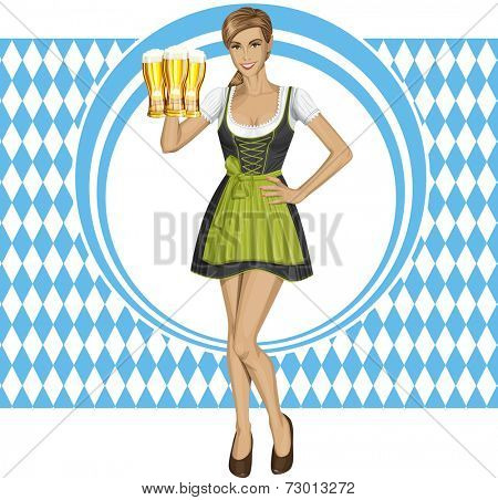 cute woman in drindl on oktoberfest with beer