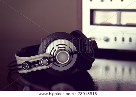 Stereo Audio Headphones Detailed Closeup