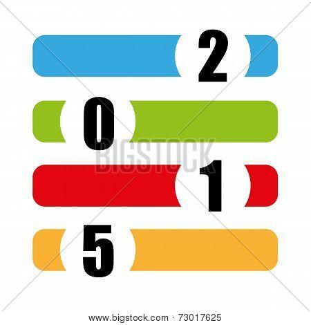 happy new year color vector symbol