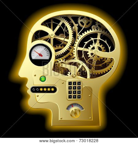 Vector image of silhouette of a human mechanical gold head half face with brain gears and other equipment. Business concepts. Concept of human thinking