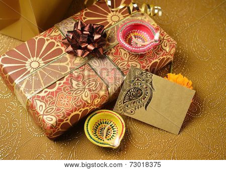 A decorative empty tag on a gift box - an indian festival objects. Horizontal Image