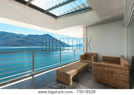 beautiful veranda of a penthouse, outside