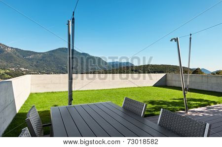 Modern house, outdoor, view from veranda