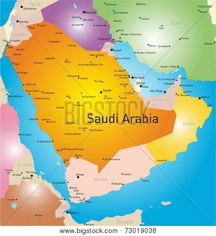 vector color map of Saudi Arabia country