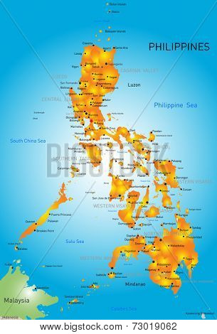Vector color map of Philippines