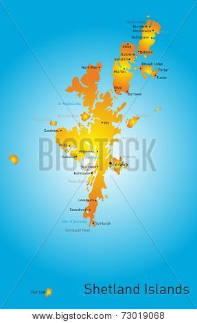 Vector color map of Shetland Islands
