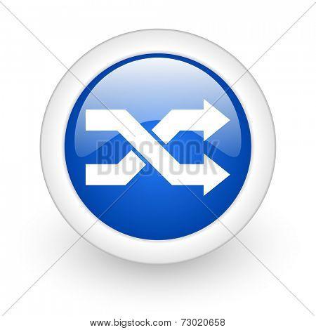 aleatory blue glossy icon on white background