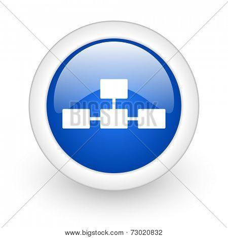 database blue glossy icon on white background