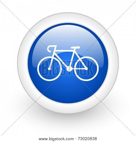 bicycle blue glossy icon on white background