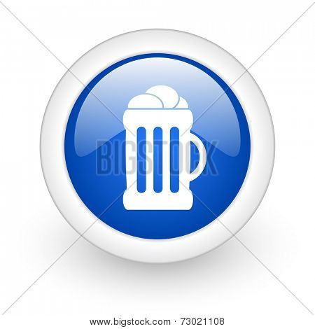 beer blue glossy icon on white background