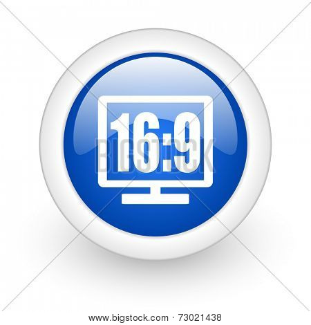 16 9 display blue glossy icon on white background