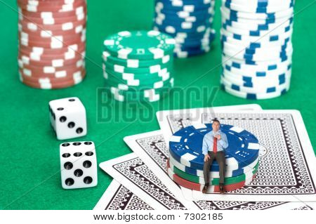 Businessman On Poker Chips