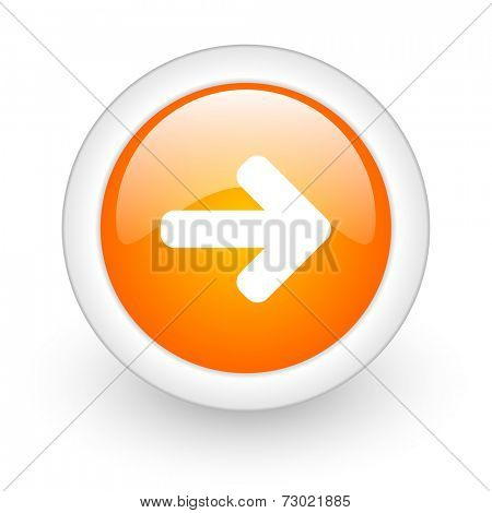 right arrow orange glossy web icon on white background
