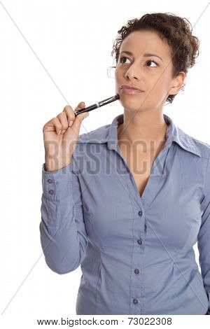 Isolated pensive and reflective business woman looking up sideways.