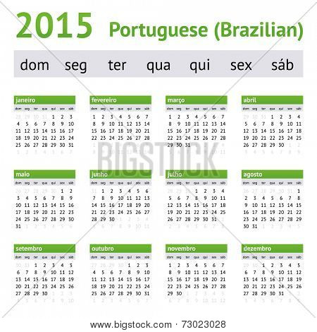 2015 Portuguese American Calendar. Week starts on Sunday