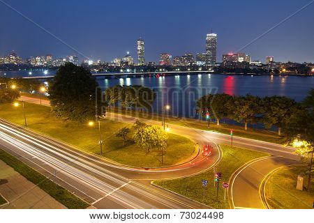 Boston At Night With Charles River