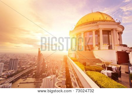 BANGKOK, THAILAND - July 2: View from the top of Vertigo Bar on July 2, 2014 in Bangkok, Thailand. Vertigo Bar is one of the luxury bars and restaurant in Bangkok .