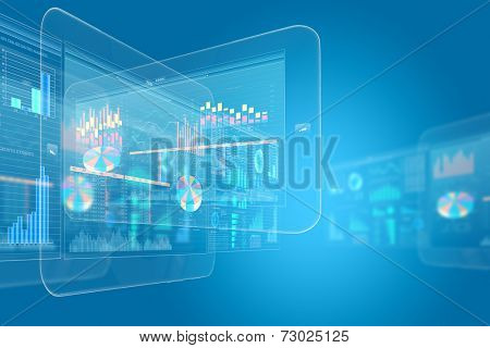 Background digital image with touch icons. Innovative technologies