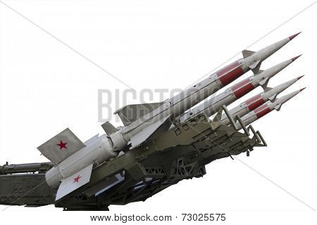 Four missile weapons over white background