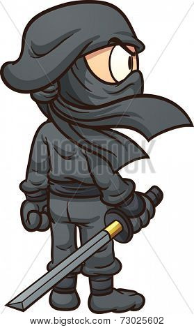 Cartoon ninja seen from behind. Vector clip art illustration with simple gradients. All in a single layer.