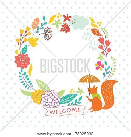 floral autumn frame,  lettering welcome, vector illustration