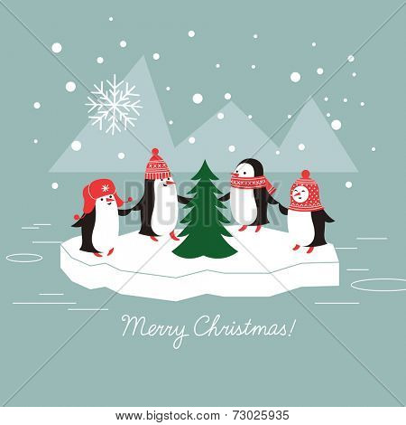 cute penguins and christmas tree