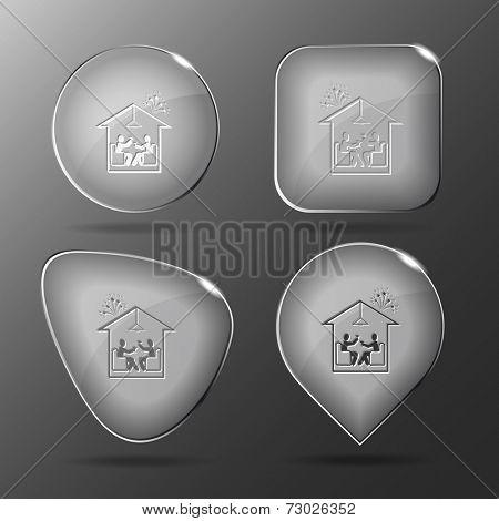 Home celebration. Glass buttons. Raster illustration.