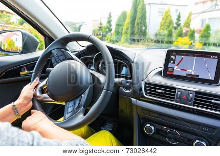 Driving a car with navigation device