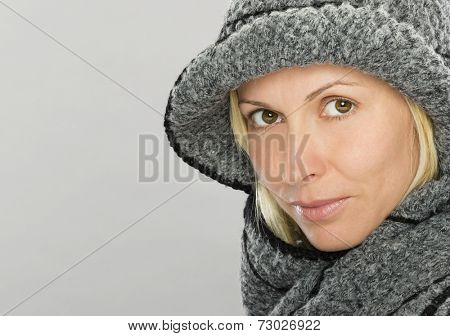 Forty years old, nice woman in winter clothes