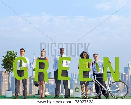 Business People in an Urban Scene and Green Concept